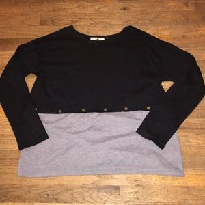 Lk New Ya Mixed Media Sweater Top M